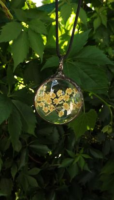 Jewelry, real dried flowers, bohemian, terrarium necklace, glass pendant…