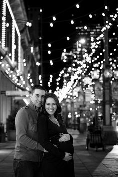 Night time maternity photos in Downtown Denver, CO... Complete with Christmas lights!