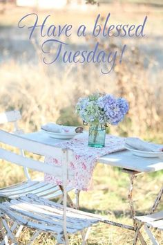 """a-cottage-in-the-woods: """" source: Dreamy Whites ~ pretty summer alfresco dining """" Hello Tuesday, Happy Tuesday, Tuesday Morning, Cottage In The Woods, Cottage Style, Tuesday Greetings, Tuesday Quotes, What Day Is It, Good Morning Good Night"""