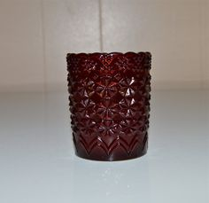 Ruby Red Glass Toothpick Holder Votive Daisy and by WVpickin