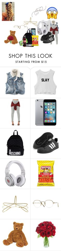 """""""slay  my babe got me a teddy  bear"""" by inspiredbyart345 ❤ liked on Polyvore featuring H&M, Moschino, adidas Originals, Beats by Dr. Dre, Miss Selfridge and Oliver Peoples"""
