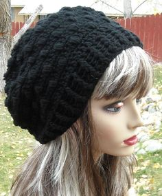6a92c2c6a24 Crocheted Slouchy Hat   beanie in Black Women by yarntwisted