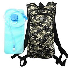Hydration Pack with 2L Backpack Water Bladder for Hiking Running Biking Color Camo Green ** Details can be found by clicking on the image.