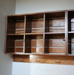 Wall Cubby Crate Shelves - Ana White DIY. Love the bench and hidden storage.