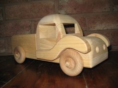Beautiful, non-toxic wooden pickup artisan toy truck with functional wheels. Inspired by the classic design of the Ford pickup truck and is ready for play or dis Natural Kids, Natural Baby, Toy Trucks, Pickup Trucks, Baby Registry, Organic Baby, Kids Toys, Wood, Inspiration