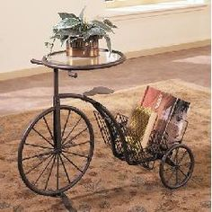 Tricycle Accent Table Magazine Rack with Glass Inset in Antique Rust Finish