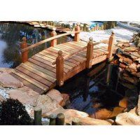 Create a serene environment in your own backyard with the Whitehead Redwood Single Rail Bridge. Made from the finest California redwood, this bridge ranges. Pond Bridge, Garden Bridge, Garden In The Woods, Lawn And Garden, Water Garden, Wooden Path, Ponds Backyard, Backyard Ideas, Garden Ideas