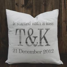 Started With A Kiss 16 x 16 Pillow Cover, couple, wedding gift, engagement gift, newlywed, wedding shower, valentines day gift, love. $20.00, via Etsy.