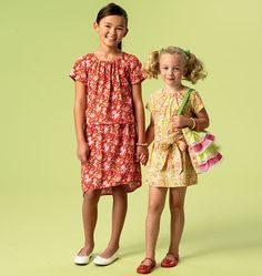 M6882 | Children's/Girls' Tops, Dress, Belt, Skirts and Bag | Girls/Boys | McCall's Patterns