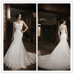 Vestido de noiva 2015 New Collection Lace Mermaid Wedding Dress Bridal Gown With Sheer Back Court Train Floor length Buttons