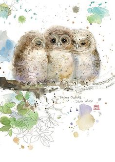 Three Owlets by Jane Crowther. Design for Bug Art greeting cards.