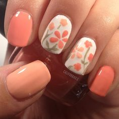 Peach flowers on white base nail art design