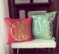 pink • aqua • monogram • pillows