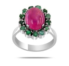 vintage style natural ruby and emerald ring