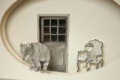 Thais Beltrame / Aquele Lugar de Existir / Nanquim e aquarela sobre assemblage de papel - 2013 - 18 x 30 cm