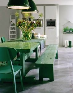 Brining the outside indoors with green picnic table and chairs!  Pantone Emerald Green 2013