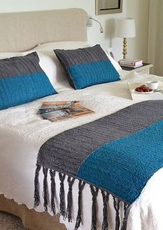 This Pin was discovered by هنا Small Blankets, Knitted Blankets, Glam Bedding, Crochet Bedspread, Bed Runner, Tapestry Design, Square Blanket, Diy Bed, Bed Throws