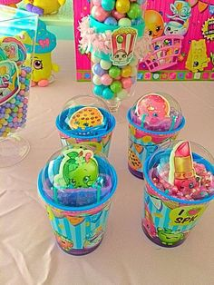 Cute favors at a Shopkins birthday party! See more party ideas at CatchMyParty.com!