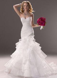 2014 New Elegant White/ivory Organza Mermaid Wedding Dress Bridal Gown SZ Custom #Handmade #Formal