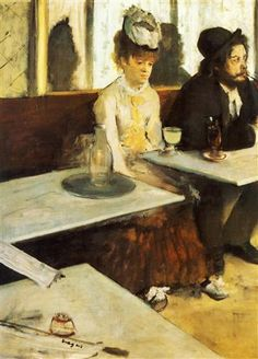 The Absinthe Drinker - Edgar Degas. Impressionistic in brush strokes and colors, but more formal in his compositions and arrangements.