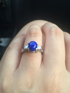 Engagement ring with Lapis lazuli