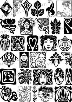 Ceramic decals, black and sepia, art nouveau. For sale at the Etsy shop of Stain. - Ceramic decals, black and sepia, art nouveau. For sale at the Etsy shop of Stain… – - Tatuaje Art Nouveau, Art Nouveau Tattoo, Tattoo Art, Motif Art Deco, Art Nouveau Design, Art Nouveau Pattern, Design Art, Glass Printing, Screen Printing