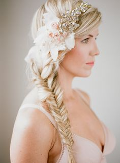 A beautiful bridal bandeau from Abigail Grace bridal is perfect for this bridal fishtail braid. It is created from tulle, crystals, handbeaded leaf applique accents and soft chiffon pearl details is a show stopper. Available here. (Photography:  Esther Louise Photography // Hair and Makeup:  Anna Sommerville). Romantic Vintage Inspired Bridal Headpieces ♥