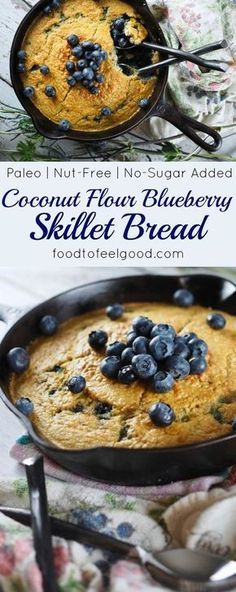 Fantastic Healthy Paleo Coconut Flour Blueberry Skillet Bread - Super yummy and comforting on a cold morning, plus easy to make. Gluten Free Baking, Gluten Free Recipes, Diabetic Recipes, Low Carb Recipes, Cooking Recipes, Healthy Recipes, Yeast Free Recipes, Gluten Free Whole Grain Bread Recipe, Cooking Ideas