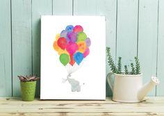 Rainbow Nursery Print, Personalized Elephant Nursery Picture, Watercolour Playroom Art, Rainbow Baby Gift, Gender Neutral Nursery Decor Idea