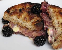 Blackberry, Prosciutto, and Brie Grilled Cheese - something interesting I want to try!