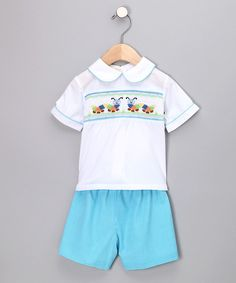 Look what I found on #zulily! White Caterpillar Shirt & Blue Shorts - Infant by Rosalina #zulilyfinds