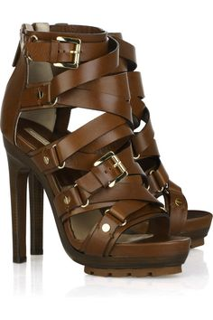 Michael Kors Strappy Buckled Leather High Heel Sandal for Office Glam