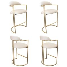 Brass Bar Stools Upholstered in White Leather | From a unique collection of antique and modern stools at https://www.1stdibs.com/furniture/seating/stools/