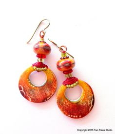 OOAK tribal earrings, richly fall-colored lampwork beads and polymer clay circles, Boho, rustic, ultra-lightweight, TRIBAL