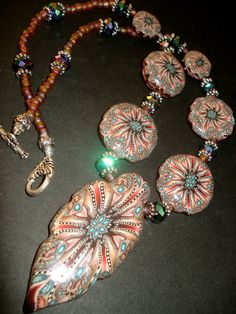 Romantic Polymer Beaded Necklace by BeadedPins on Etsy,