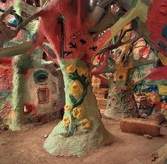 "Salvation Mountain. Niland, California. Salvation Mountain is a colorful art installation covering much of a small hill north of Calipatria, California, near Slab City and just several miles from the Salton Sea. It is made from adobe, straw, and thousands of gallons of paint. It was created by Leonard Knight to convey the message ""God Is Love."""