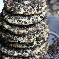 Oreo cheesecake cookies with hidden mini chocolate chips and encrusted with Oreo cookie crumbs