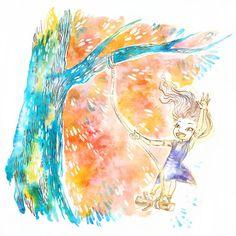 "Tree Swing Illustration 5"" x 7"" Colorful Art Print #inktober"