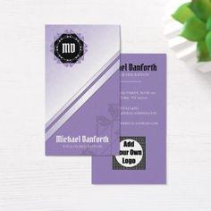 Professional Elegant Damask Monogram I - Violet Business Card - simple clear clean design style unique diy