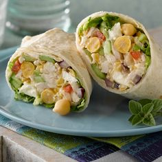 Garbanzo beans are right at home in Mediterranean-inspired dishes. Maybe that's why they taste so good in these quick, delicious wraps—filled with BUSH'S® Garbanzo Beans, shredded chicken, feta cheese, tomatoes and cucumbers.