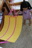Hammock for doll made out of bamboo placemat