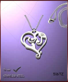 Axcesi 516T Heart pendant stainless steel 30x24mm   by Axcesi