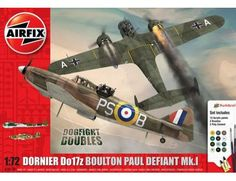 The New for 2015 Boulton Paul Defiant Mk.1 Dornier Do17z Dogfight Doubles Model Kit Gift Set accurately recreates the real life WW2 RAF two seat fighter and Luftwaffe bomber aircraft.