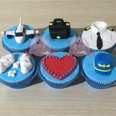 Cupcakes para piloto. Cupcakes avión. Cupcakes amor. Cupcakes corazón