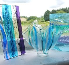 Fused Glass vase in turquoise and blue by Glassification
