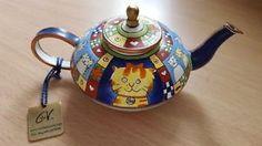 Charlotte di Vita Teapot Stylized CATS Hand Painted Enamel CML154