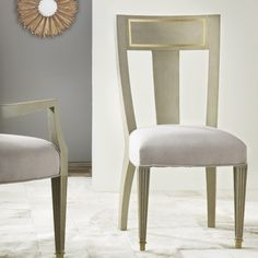 Modern Side Chair Seats Classic Boxy Frame Tucks Uniquely Into a Soft Linen Seat For An Unexpected Finish