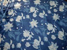 Indigo Fabric Floral Print Cotton Fabric by Indianlacesandfabric
