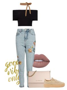 """""""Embroidered denim xo"""" by edanimexo on Polyvore featuring Lime Crime, WALL, Rosetta Getty, Topshop, Givenchy and Puma"""