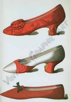 red and white satin shoe; shoe belonging to Rosa Anderson, a fair maid of Perth, whose elopement created a great sensation in bygone days in the town, to whose Council her husband belonged.] - ID: 105978 - NYPL Digital Gallery Victorian Shoes, Victorian Fashion, Vintage Fashion, Victorian Era, Retro Fashion, Vintage Shoes, Vintage Outfits, Silhouette Mode, Thrifty Decor Chick
